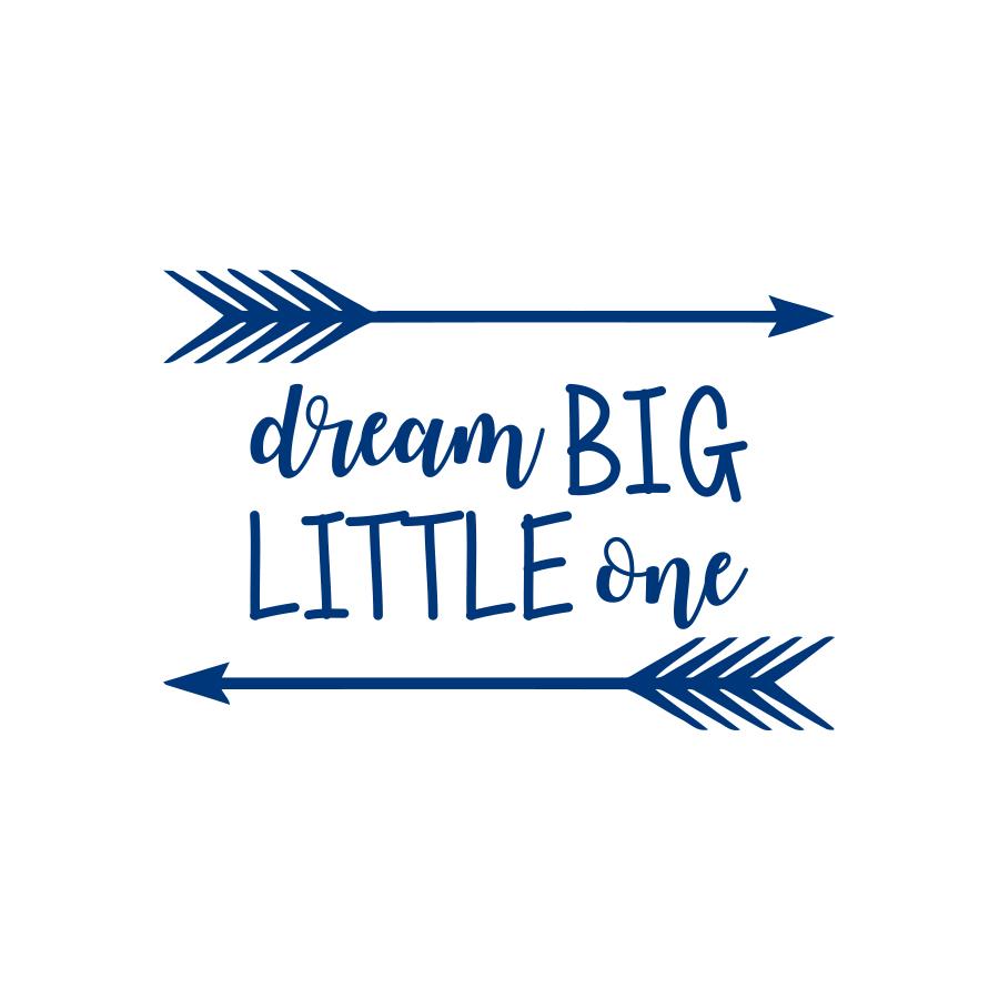 Dream Big Little One Quote Wall Decal Nursery Kids Decor Arrow Sticker f3 (gold)