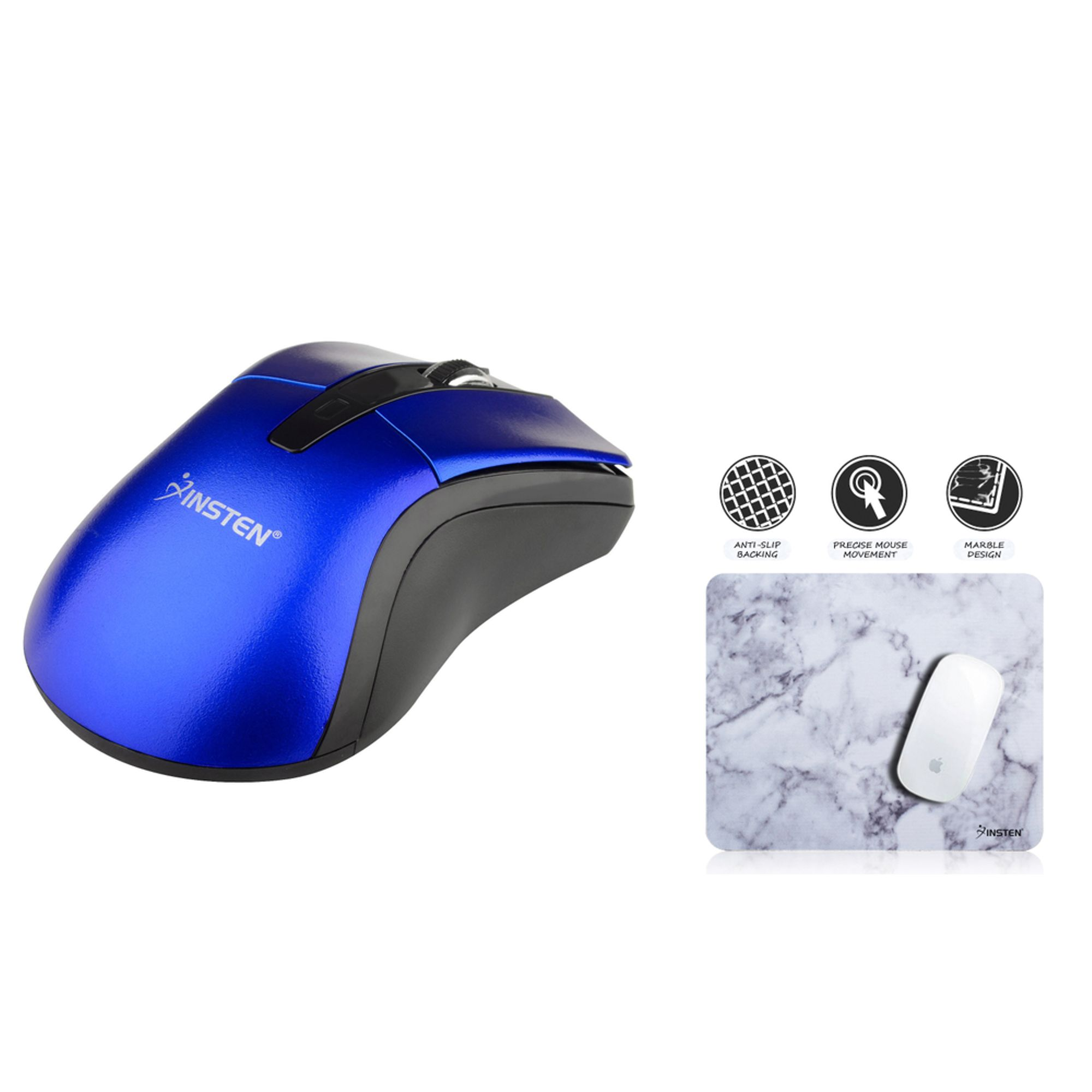 Insten Blue Ver 2 2.4G Cordless Wireless Optical Mouse + White Marble Mouse Pad