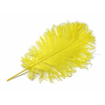 10 Pieces - Yellow Ostrich Tail Feathers