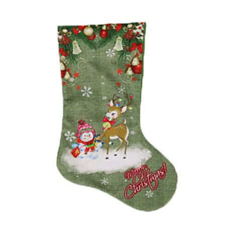 KABOER Large Christmas Stockings, 2 Pcs 47*22CM with Snowman Santa Elk Printed, Gift Card Bags Holders, Bulk Treats for Neighbors Coworkers Kids Cats Dogs ()