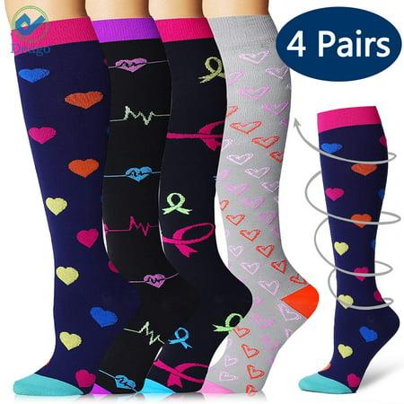 Deago 4 Pairs Compression Socks Leg Warmers for Women & Men - Best for Running Athletic Sports Crossfit Flight Travel Shin Splints - Below Knee