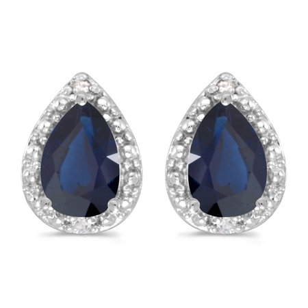 Pear Shape Sapphire Earrings (14k White Gold 6x4 mm Pear Sapphire And Diamond)