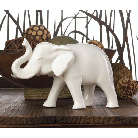 Sleek White Ceramic Elephant by Accent Plus