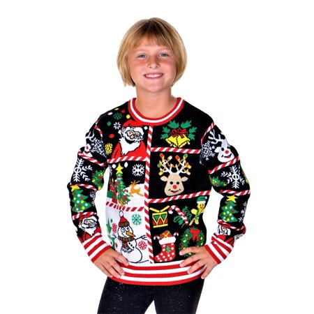 Girls Ugly Sweater (SoCal Look Girls Ugly Christmas Sweater Santa Clause Snowman Pullover)
