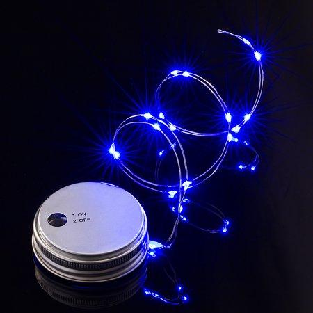 Moonbright Bulk Pack 6 Led Mason Jar Lights Battery Ed For Regular Mouth Blue Lid Light Only By Paperlantern