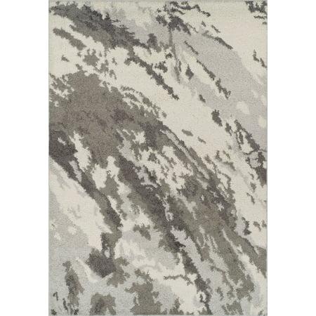 Dalyn Rocco Area Rugs - RC3 Shag & Flokati Silver Camouflage Waves Borderless Snow-Like