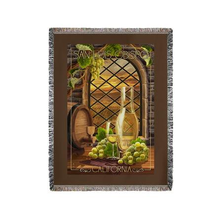 - San Luis Obispo, California - Chardonnay - Lantern Press Poster (60x80 Woven Chenille Yarn Blanket)
