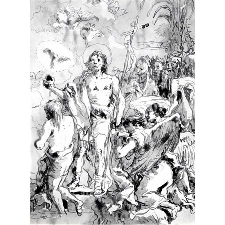 """The Baptism of Christ (with Christ Half-Kneeling at Left His Back Turned and the Baptist Full-Faced at Center Looking Up) Poster Print by Giovanni Domenico Tiepolo (Italian Venice 1727  """"1804 Venice) - Baptism Center Pieces"""