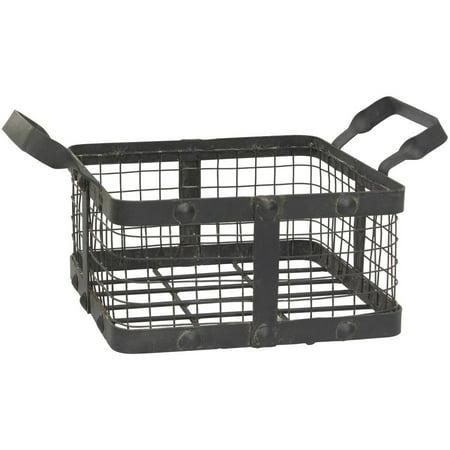 Stonebriar Collection Graphite and Rust Metal Basket with Rivet Trim - Black Metal Basket