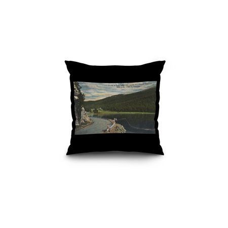 Denver, Colorado - Echo Lake Scene with Echo Lake Lodge (16x16 Spun Polyester Pillow, Black Border) ()