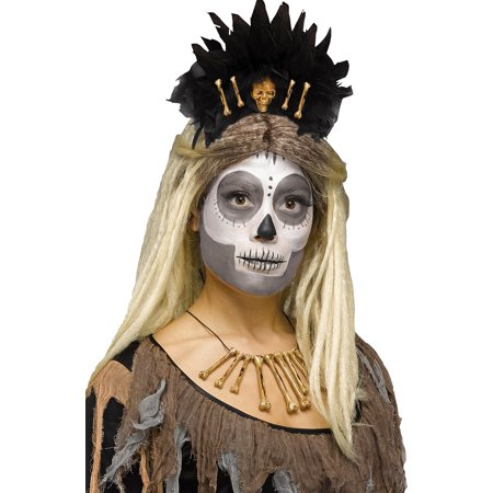 Voodoo Queen Stone Age Bones Headband Skull Caveman Cavewoman Costume Accessory (Queen Costume Accessories)