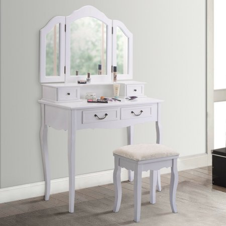 - Gymax Vanity Set Makeup Table Dresser Tri Folding Mirror 4 Drawers with Stool White