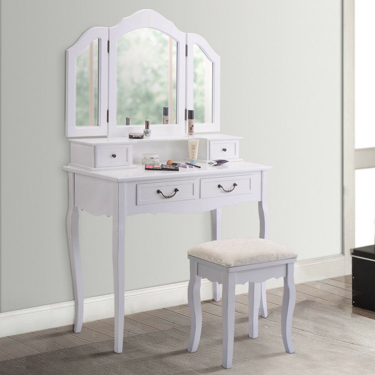 Gymax Vanity Set Makeup Table Dresser Tri Folding Mirror 4 Drawers with Stool White