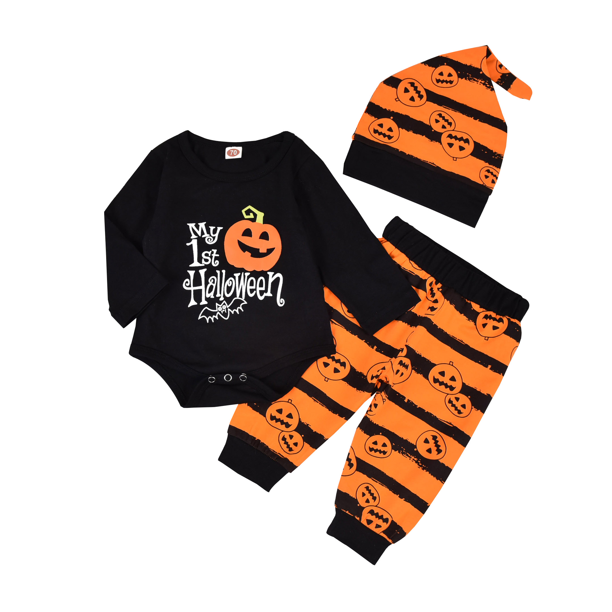 Newborn Baby Girls Boys Halloween Jumpsuit Outfit My First Halloween Romper Stripe Pumpkin Jumpsuit Hat Pajamas Clothes