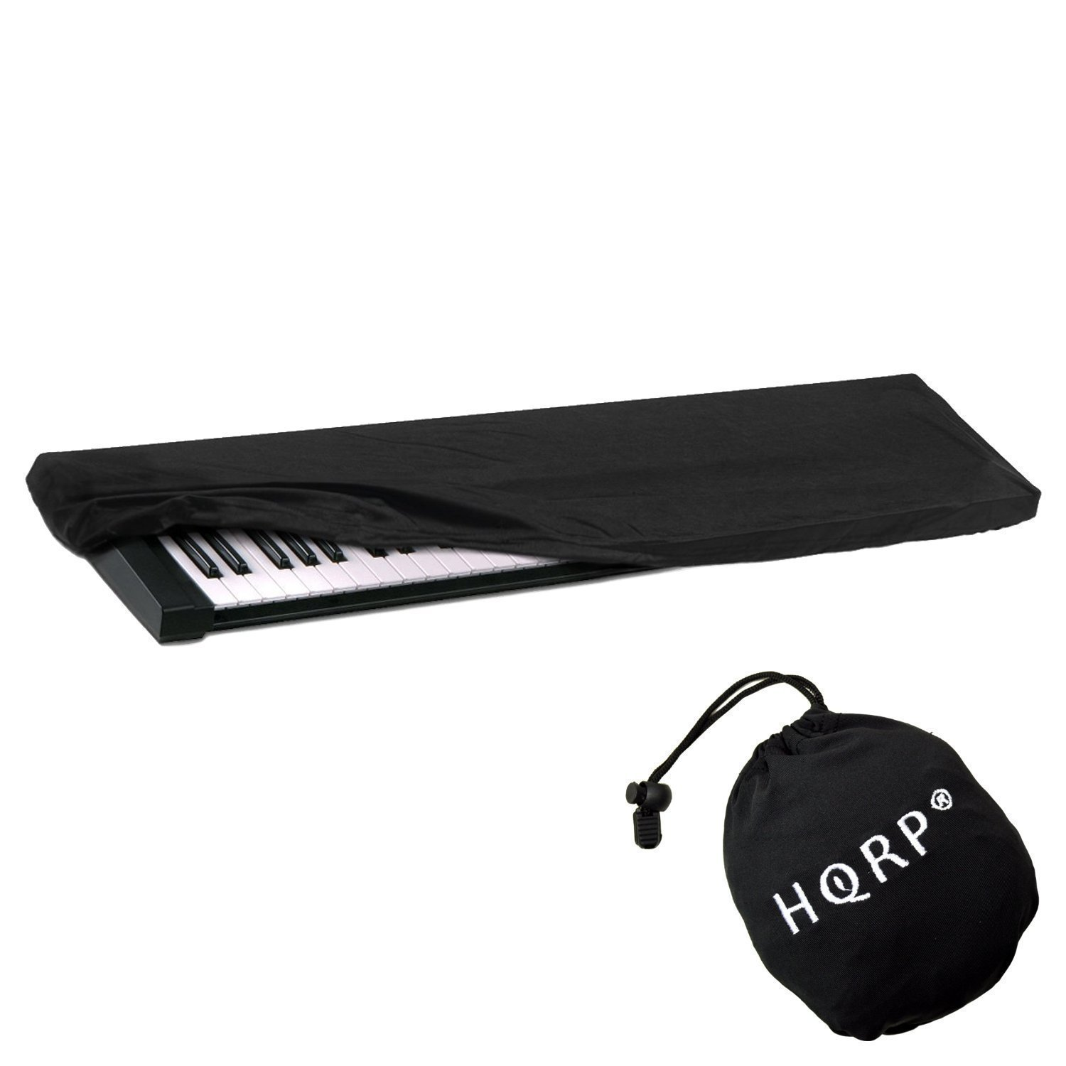 HQRP Elastic Dust Cover w/ Bag (Black) for Williams Legato / Allegro 2 Electronic Keyboard Digital Piano + HQRP Coaster
