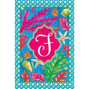 Tropical Fish and Coral Coastal Monogram F Double Sided 12 X 18 Inch Garden Flag