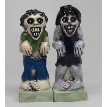 Zombies Magnetic Ceramic Halloween Salt and Pepper Shakers, Measures 4 1/4 x 1 1/2 x 1 3/4 inches By Pacific Trading