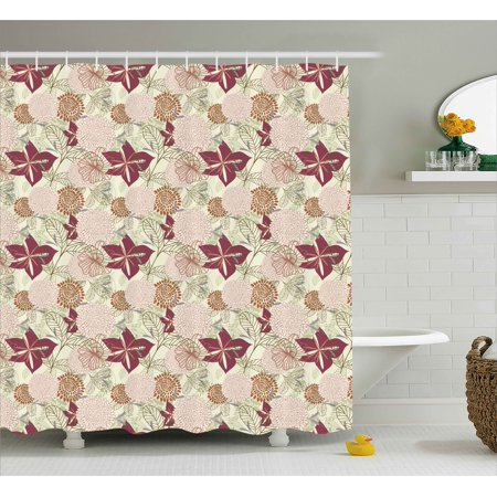 Contemporary Floral Fabric - Flower Shower Curtain, Modern Contemporary Purple Pink Based Sketchy Orchids Florals Leaves Buds Art Print, Fabric Bathroom Set with Hooks, 69W X 70L Inches, Multicolor, by Ambesonne