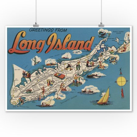 Greetings From Long Island New York View Vintage