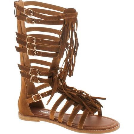Link Katia 50K Little Girls Strappy Buckled Fringe Gladiator Flat Sandals Tan - Girls Gladiator Sandals