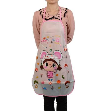 Unique Bargains Satin Waterproof Cartoon Girl Pattern Bib Apron Multicolor for Home Essential