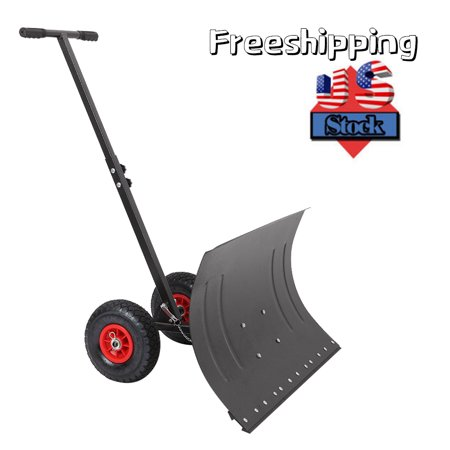 Image of Wheeled Pusher Snow Shovel, Adjustable Angle High-Efficiency Snow Remover Equipment Tool, Snow Shovel with Wheels, Heavy Duty Rolling Snow Shovel, Snow Pusher for Driveway or Pavement Clearing, W6954