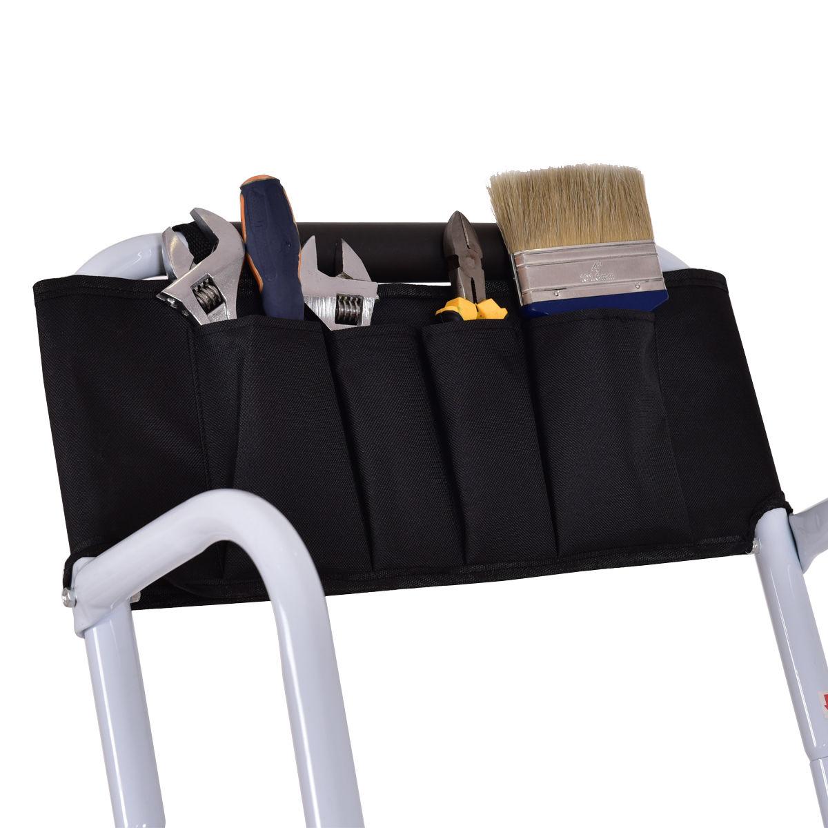 2 In 1 Non Slip 4 Step Ladder Folding Stool W Handrails