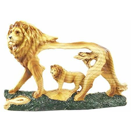 Rustic Faux Wood Collectible Majestic African Grassland Pride Lion Scene Figurine Sculpture