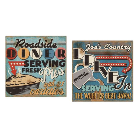 50's Style Diner Signs; Fresh Pies and Cup of Joe Java by Pela Studios; Two 12x12in Paper Posters - 50's Style Home Decor