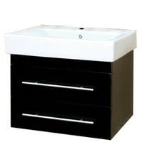 Bellaterra Home 24.25 in Single wall mount style sink vanity-wood-black