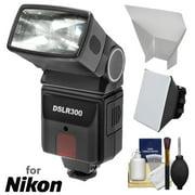 Precision Design DSLR300 High Power Auto Flash with Softbox + Bounce Diffuser Kit for Nikon D3200, D3300, D5300, D5500, D7100, D7200 DSLR Cameras