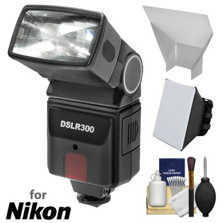 Precision Camera Flash - Precision Design DSLR300 High Power Auto Flash with Softbox + Bounce Diffuser Kit for Nikon D3200, D3300, D5300, D5500, D7100, D7200 DSLR Cameras