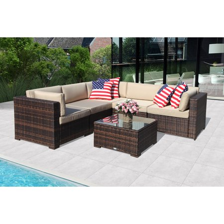 Patio Outdoor Furniture Sectional Sofa Set (6-Piece Set) All-Weather Brown Wicker with Beige  Seat Cushions &Glass Coffee Table  Patio, Backyard, Pool  Steel Frame ()