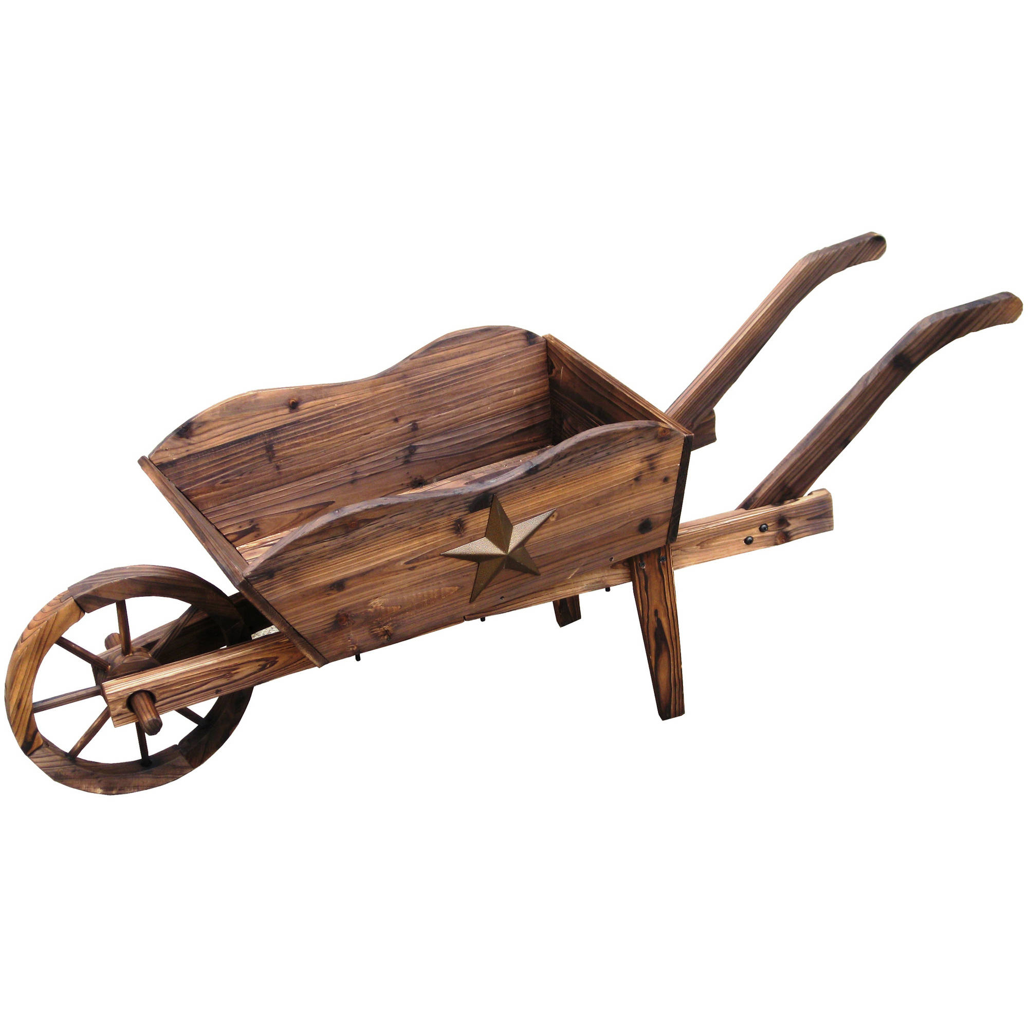 "Lehigh Country TX93959 24' L x 9""W x 16""H Wooden Wheel Barrow Planter"