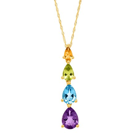2 3/8 ct Natural Multi-Stone Journey Drop Pendant Necklace in 10kt -