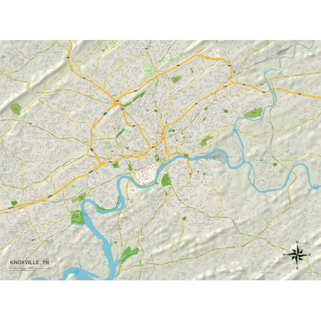 Political Map of Knoxville, TN Print Wall Art ()