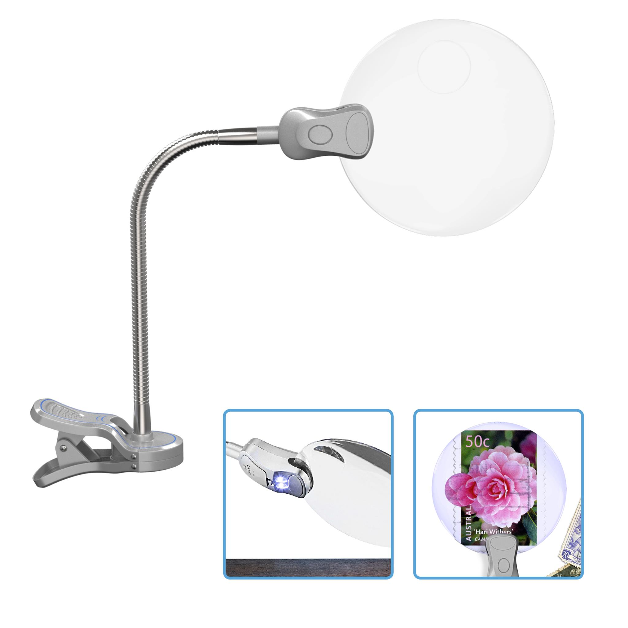 MagniPros 3X LED Lighted Clip-on Tabletop Magnifying Lamp Magnifier with 5X Spot Lens- Heavy Duty Non-Slip Clamp & Metal Goose Neck