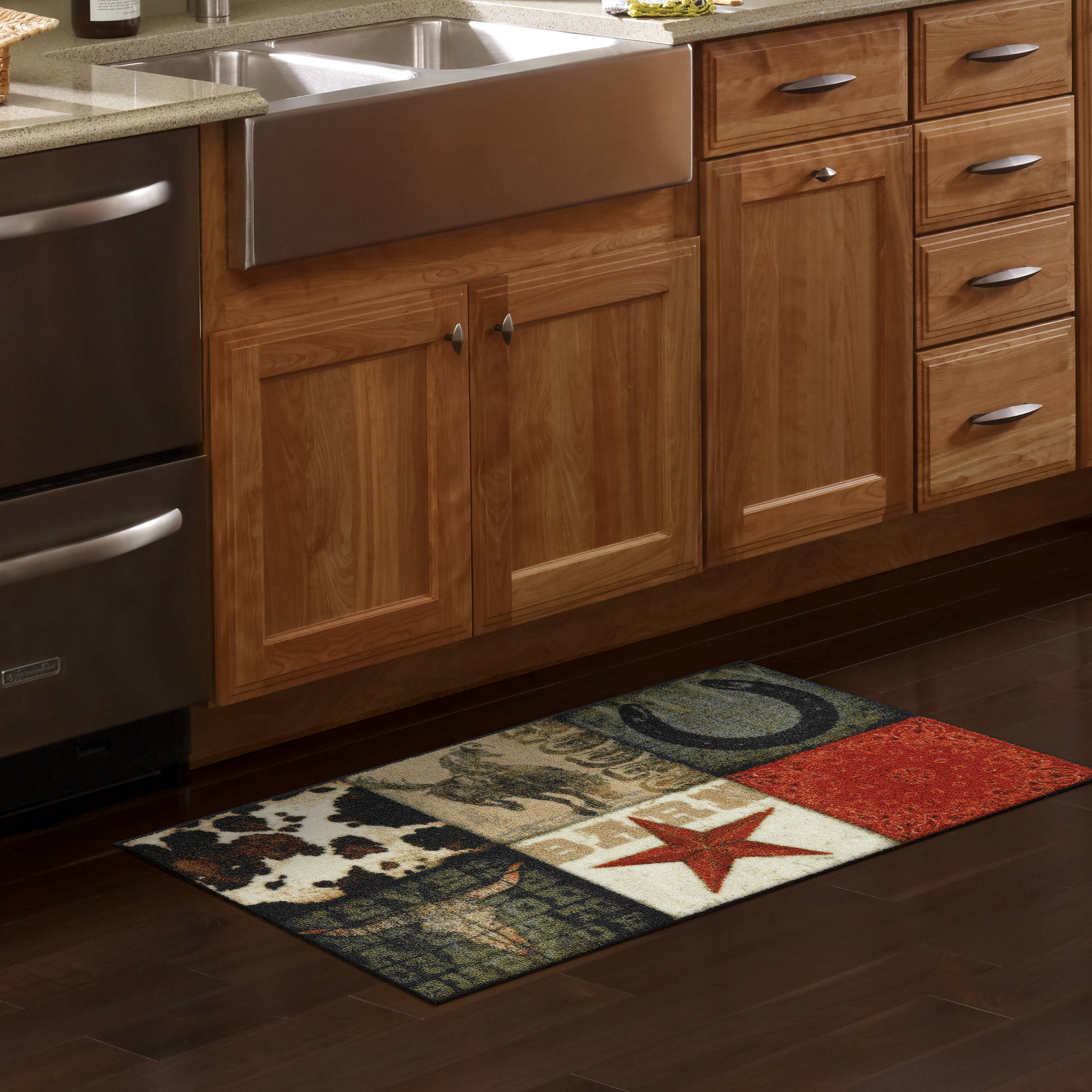 mainstays texas cowboy kitchen rug walmartcom - Kitchen Rugs Walmart