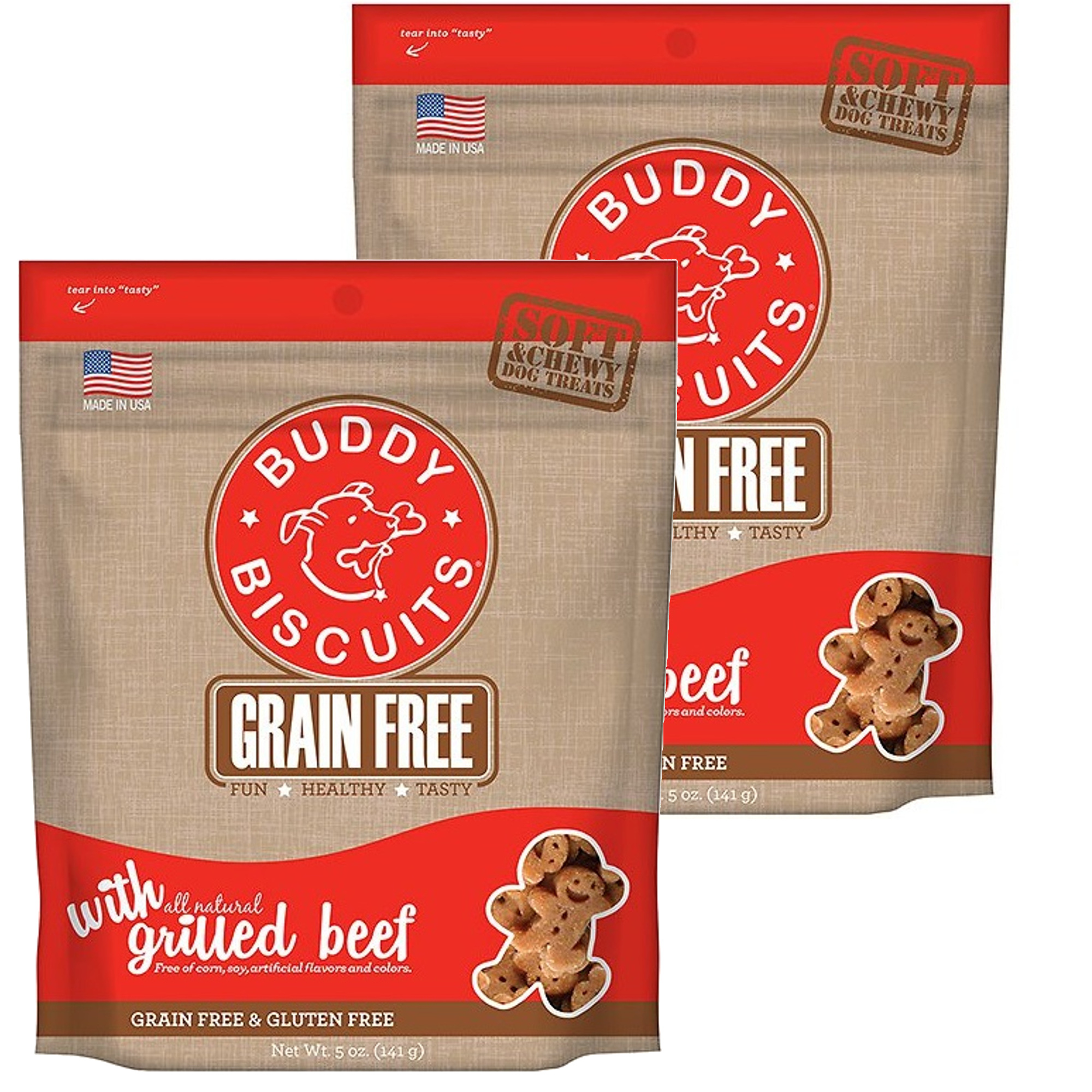 Cloud Star Buddy Biscuits 5 oz Soft & Chewy Dog Treats - Grilled Beef 2 Pack