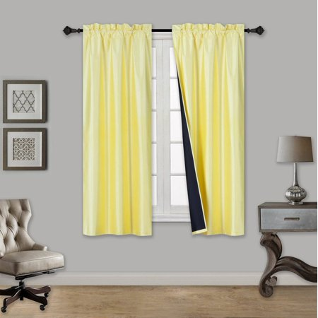 "TOM YELLOW 1-Piece 100% Blackout Room Darkening Rod Pocket Solid Window Curtain Panel with Black Lined Backing 35"" x 63"""