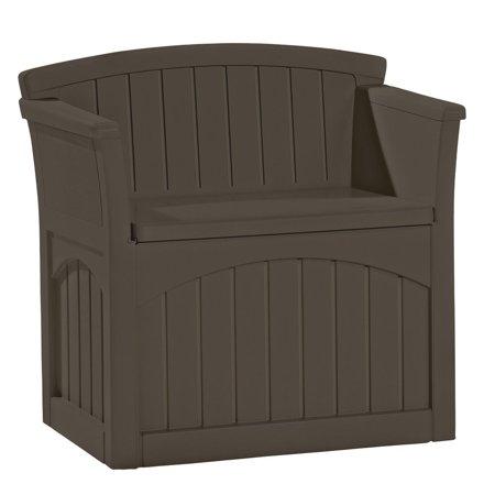 Suncast 31 Gallon Patio Seat Outdoor Storage and Bench Chair, Java | PB2600J