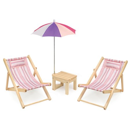 "Badger Basket Two Doll Beach Chair Set with Table and Umbrella - Summer Stripes - Fits American Girl, My Life As & Most 18"" Dolls"