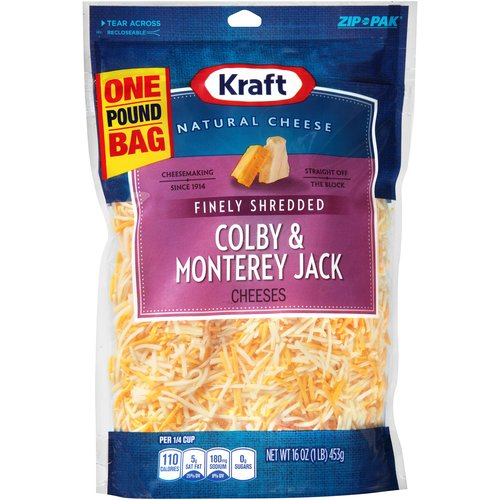 Kraft Natural Cheese Finely Shredded Colby & Monterey Jack Cheeses, 16 oz