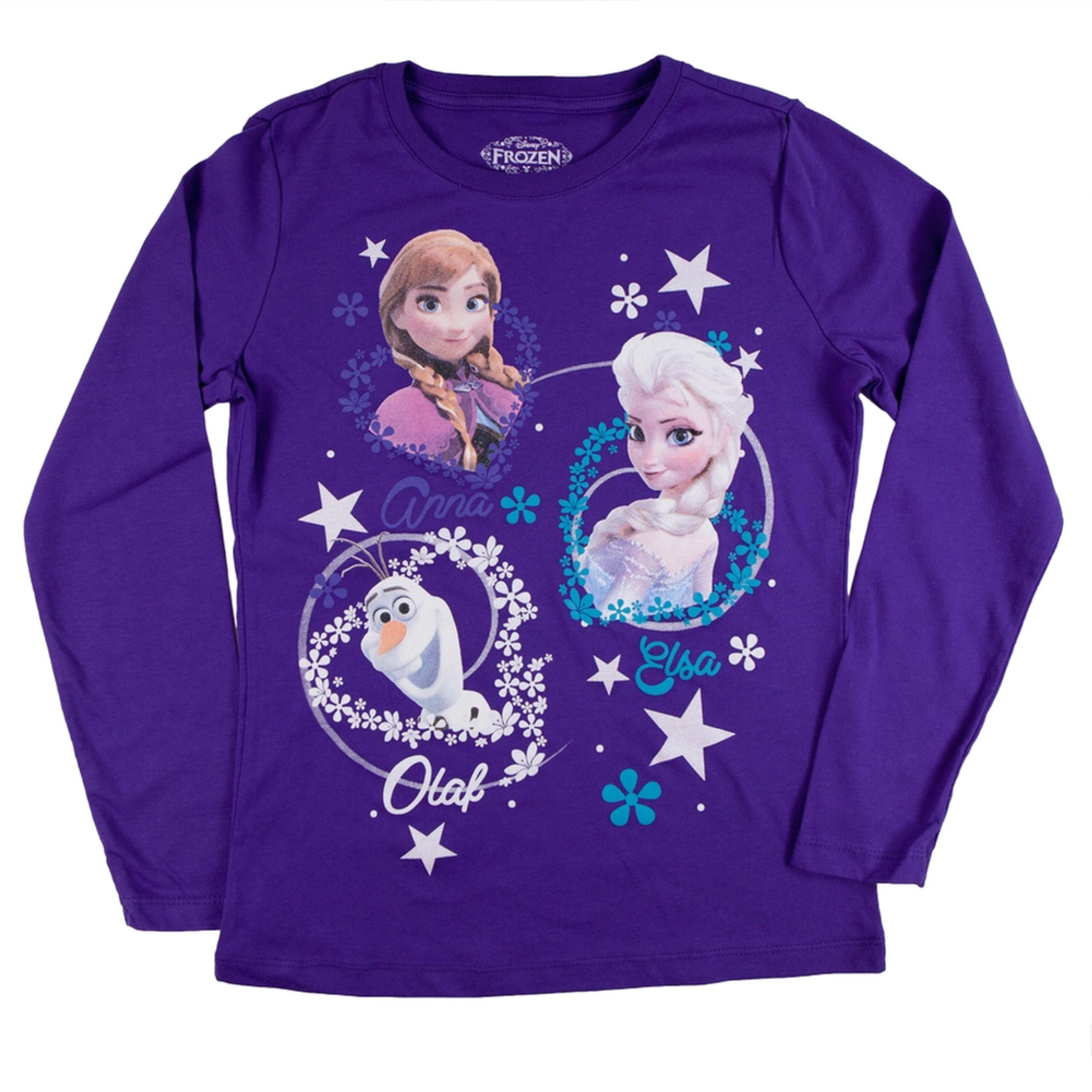 Frozen - Group Snowflake Circles Girls Juvy Long Sleeve T-Shirt