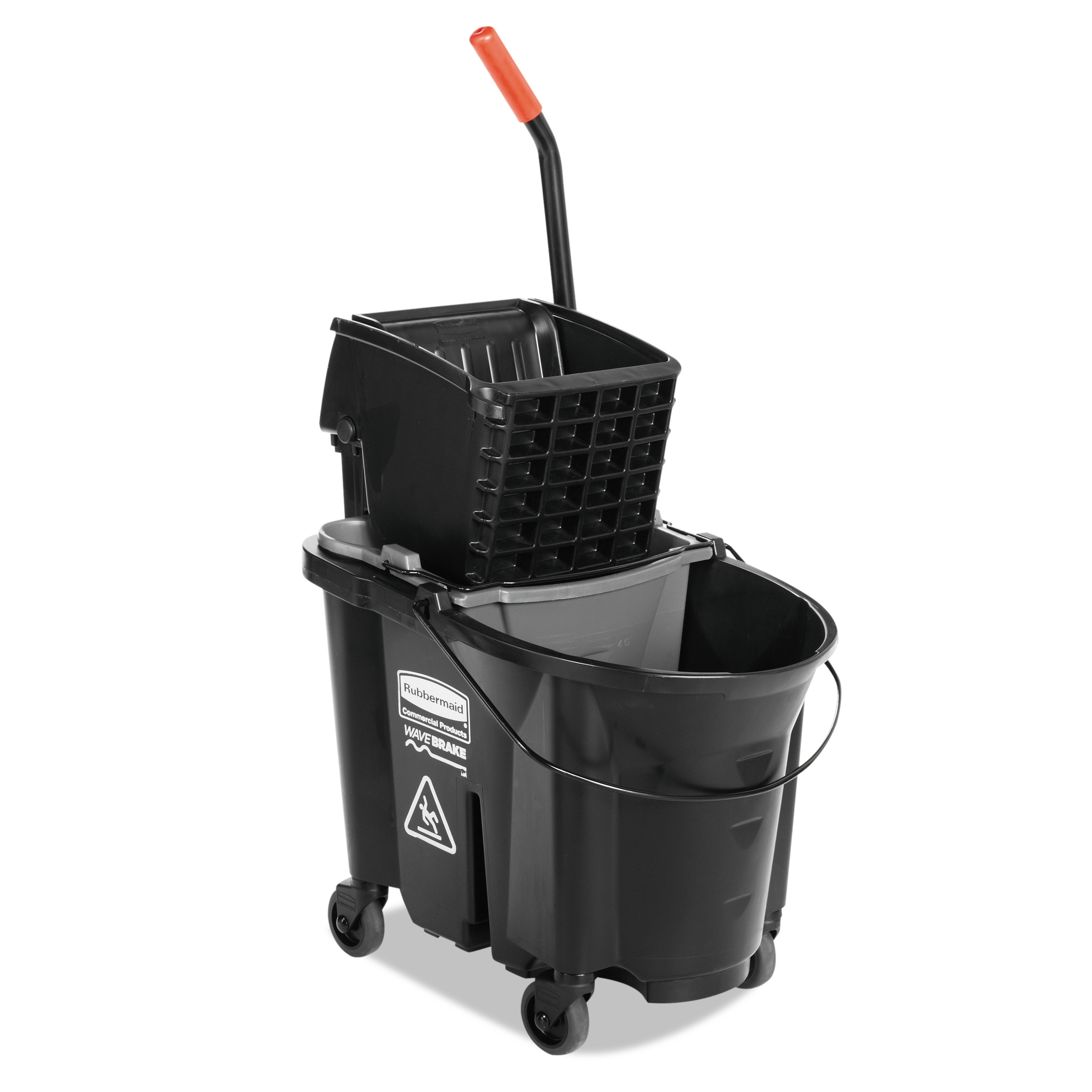 Rubbermaid Commercial WaveBrake Side-Press Wringer/Bucket Combo, 35 Qt, Black