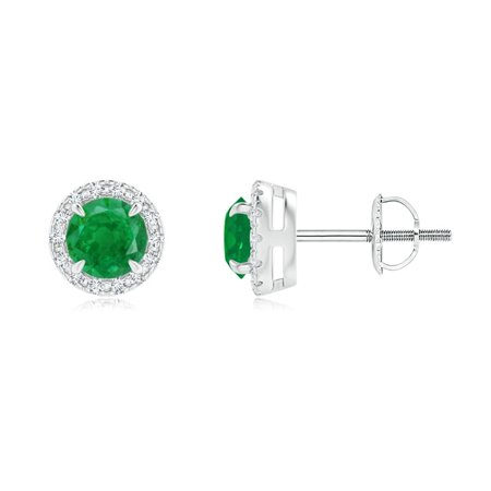 Mother's Day Jewelry Sale - Claw-Set Emerald and Diamond Halo Stud Earrings in 14K White Gold (4mm Emerald) - SE1492ED-WG-AA-4