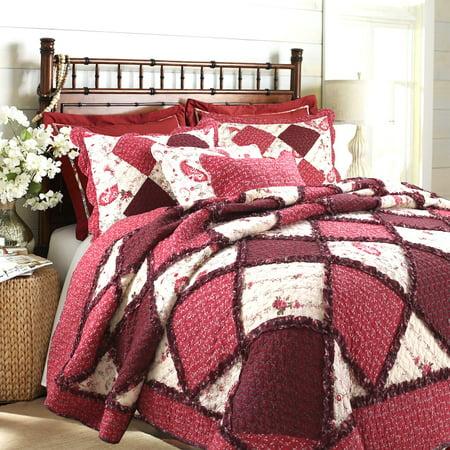 Cozy Line Home Fashions Annabel Heirloom Patchwork 3-Piece Cotton Quilt (Quilt Liner)