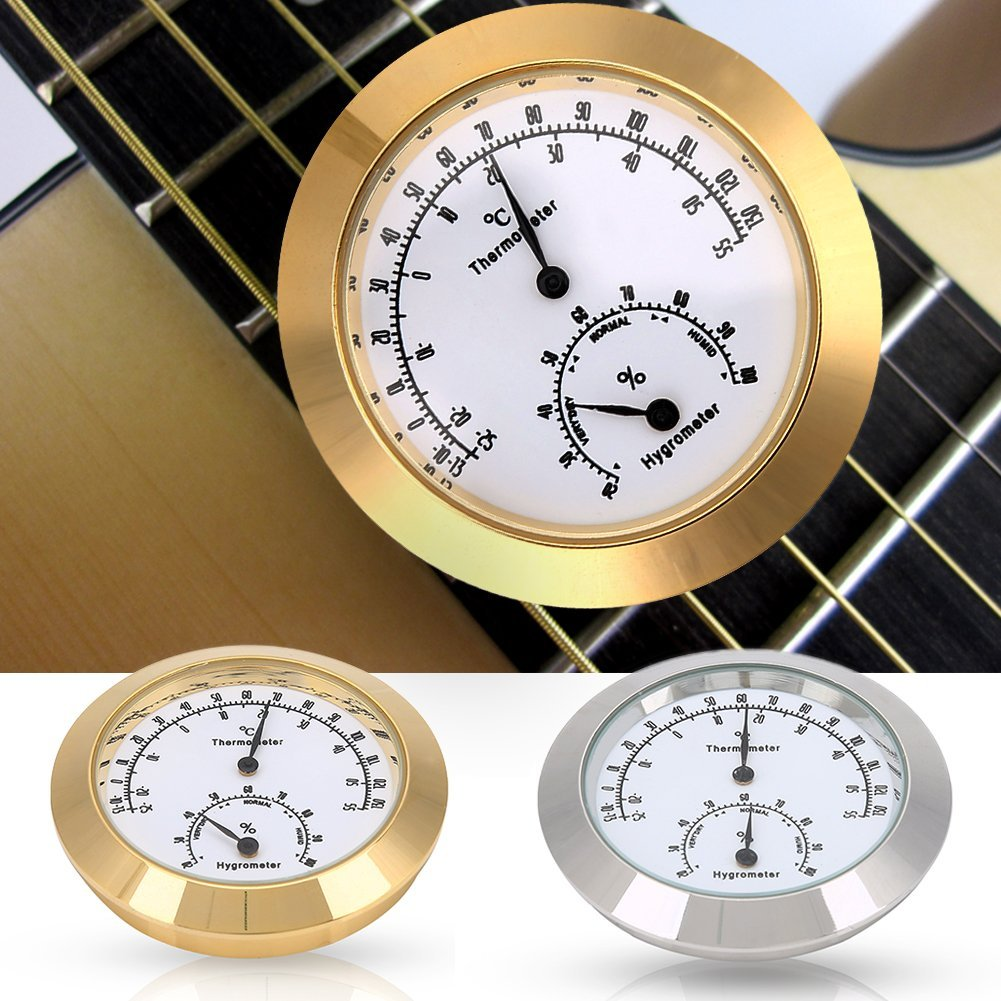 Round Thermometer Hygrometer Indoor/Outdoor Guitar Thermometer Hygrometer Digital Humidity Temperature Meter for Guitar Violin Case Parts