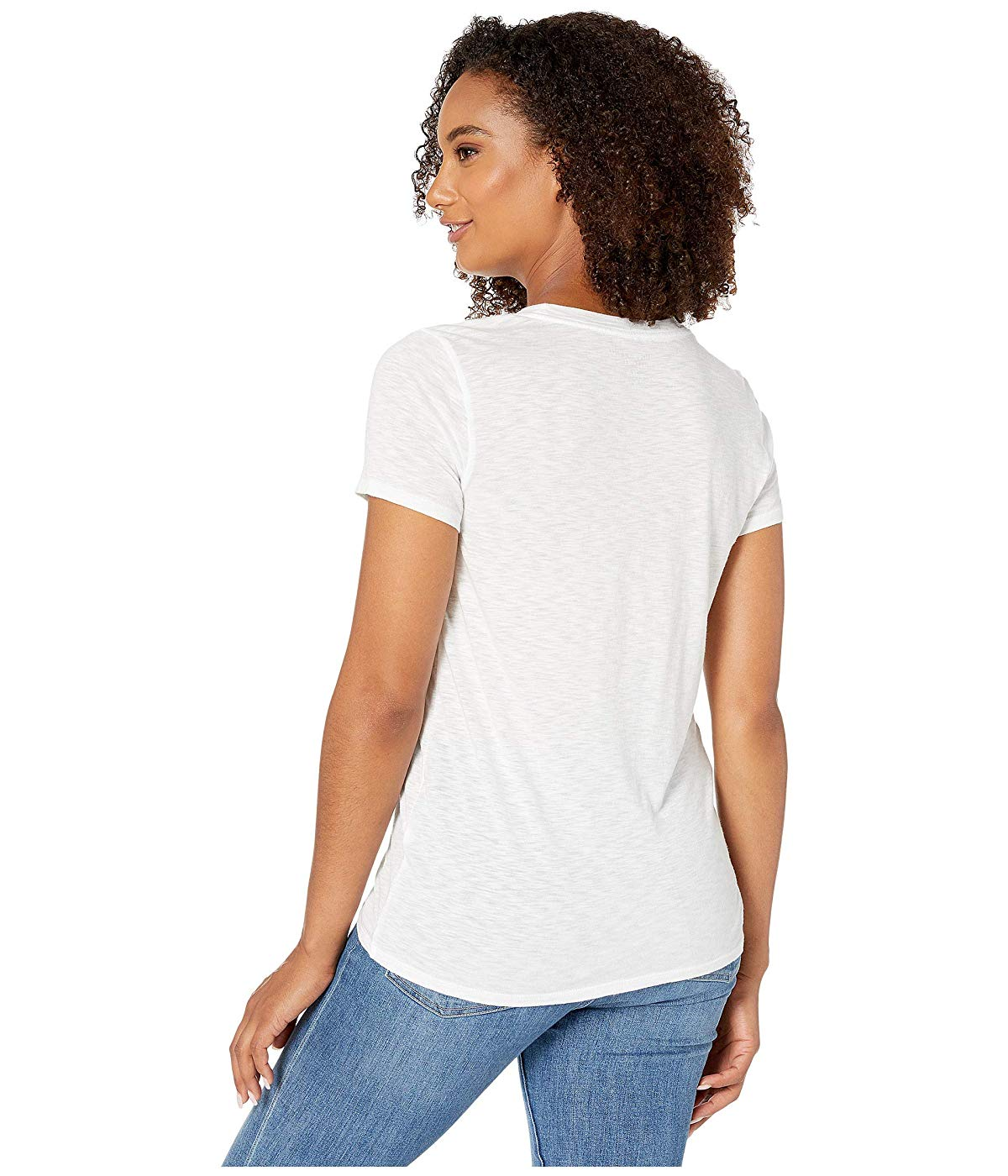 READ Blue Geometric Embroidered Cotton Tee Lucky Brand Women/'s L