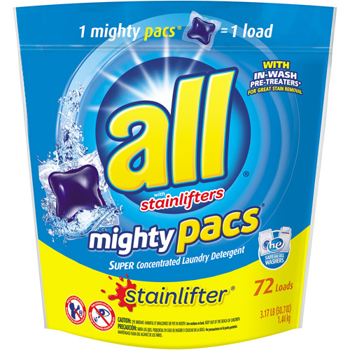 All Mighty Pacs 4X Concentrated Original Laundry Detergent, 72ct